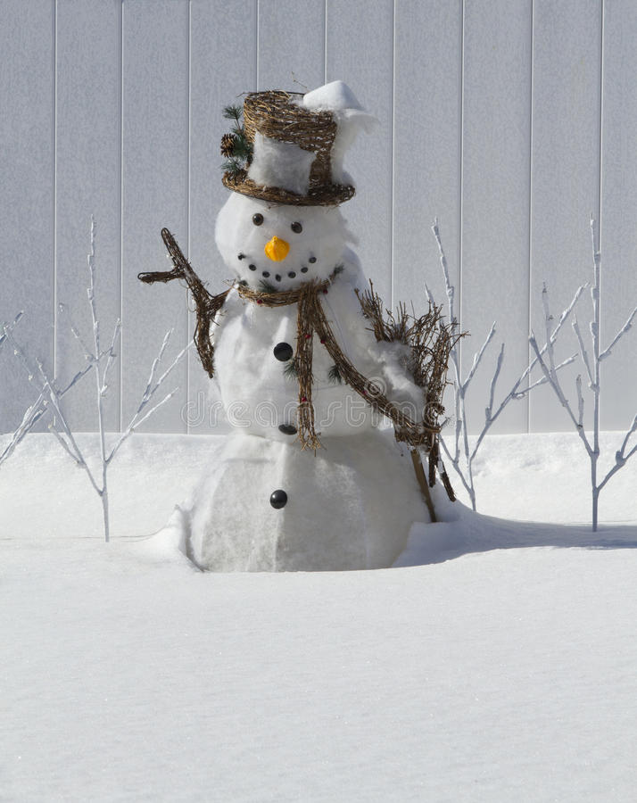 Snowman with Hat stock photography