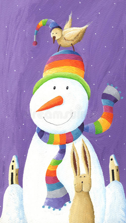 Snowman with hat and bird stock illustration