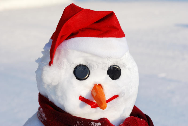 Snowman with hat, carrot nose and scarf royalty free stock photos