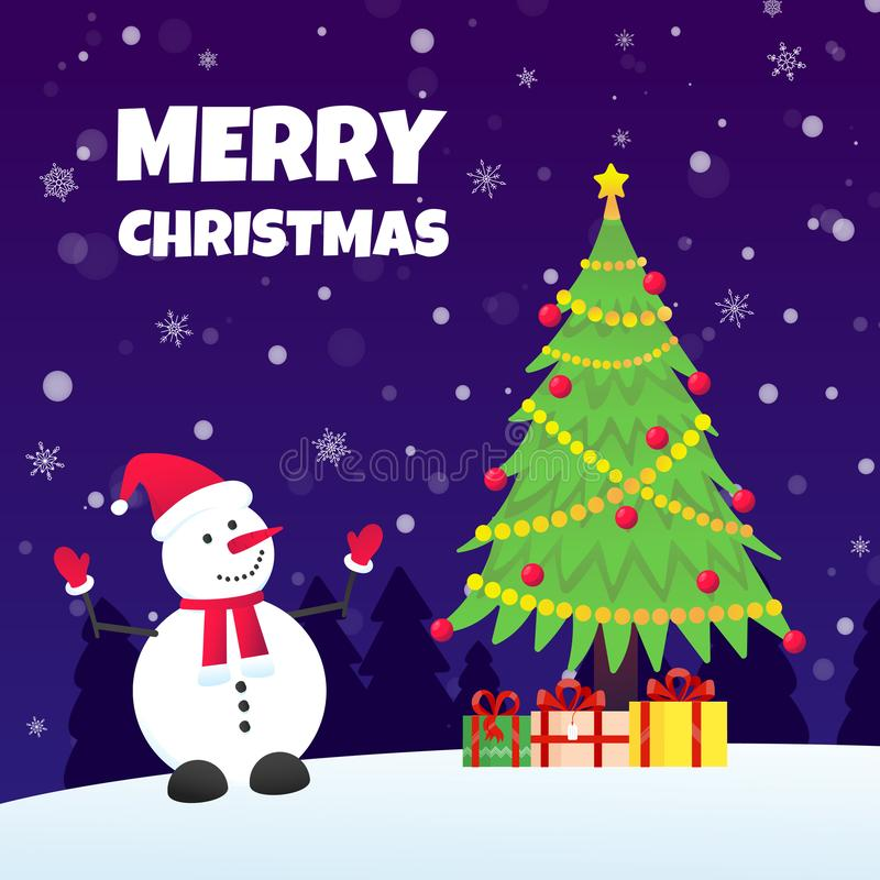 The snowman with hat, gloves, christmas tree fir and present gifts. The snowman with hat, gloves, christmas tree fir and present gifts with falling snow flat stock illustration