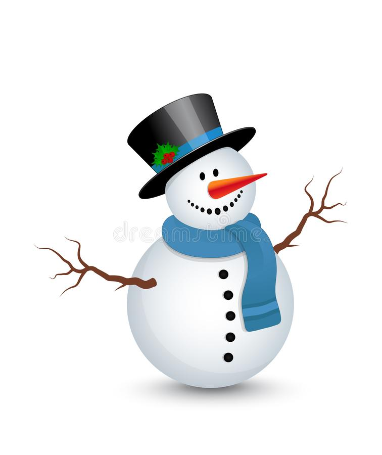 Snowman with hat royalty free illustration