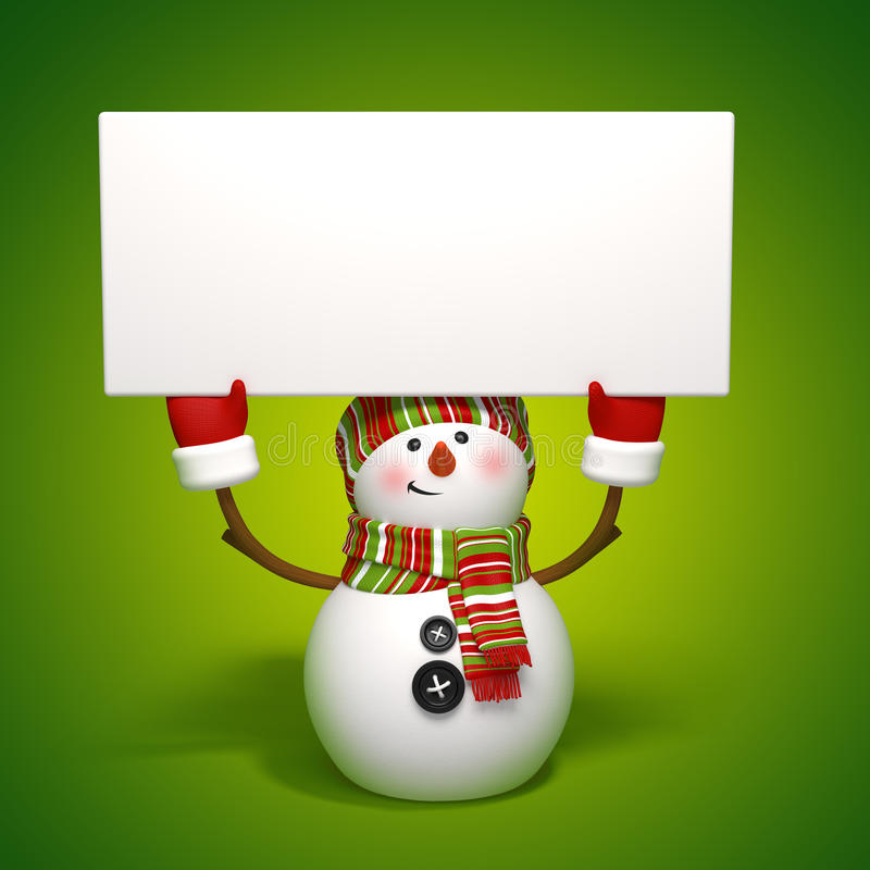 Download Snowman holding banner stock illustration. Image of celebrate - 27297844