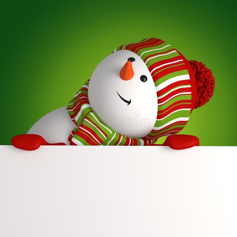 Snowman holding banner royalty free illustration