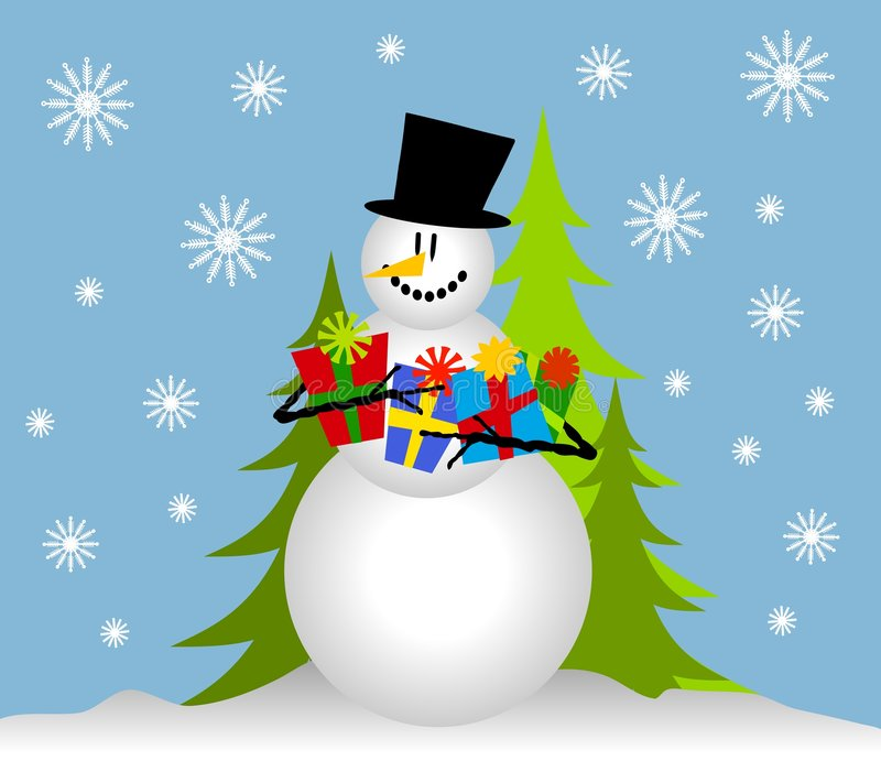 Snowman Holding Christmas Gifts stock illustration
