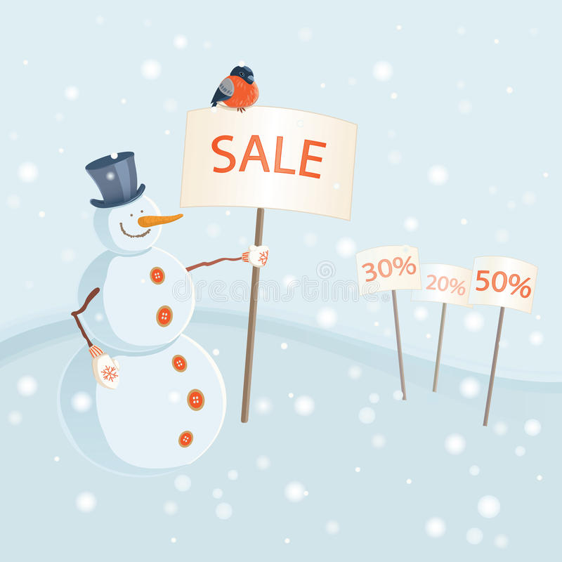 Snowman holding sale banner stock photography