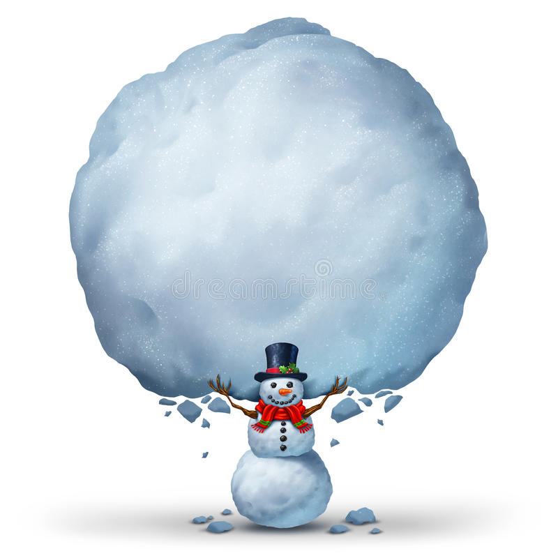 Snowman Holding Snow Sign vector illustration