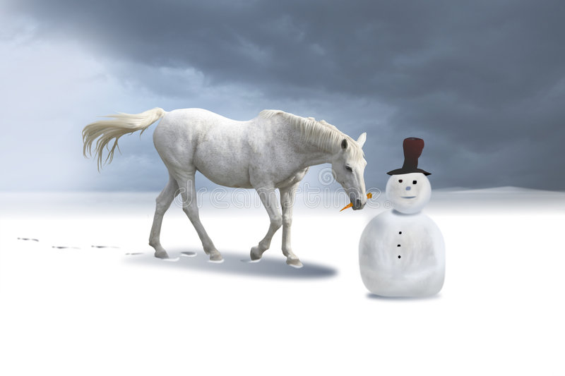 The snowman and the horse in a winter landscape. stock photos