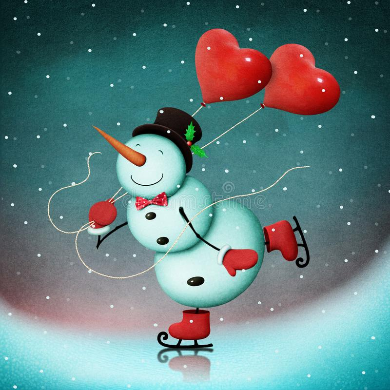 Snowman on ice with hearts. Winter Holiday Greeting Card or poster with snowman skater for Christmas, New Year or Valentine`s Day. Computer graphics stock illustration