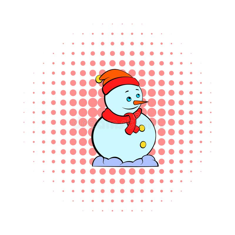 Snowman icon, comics style. Snowman icon in comics style on dotted background. Winter symbol royalty free illustration