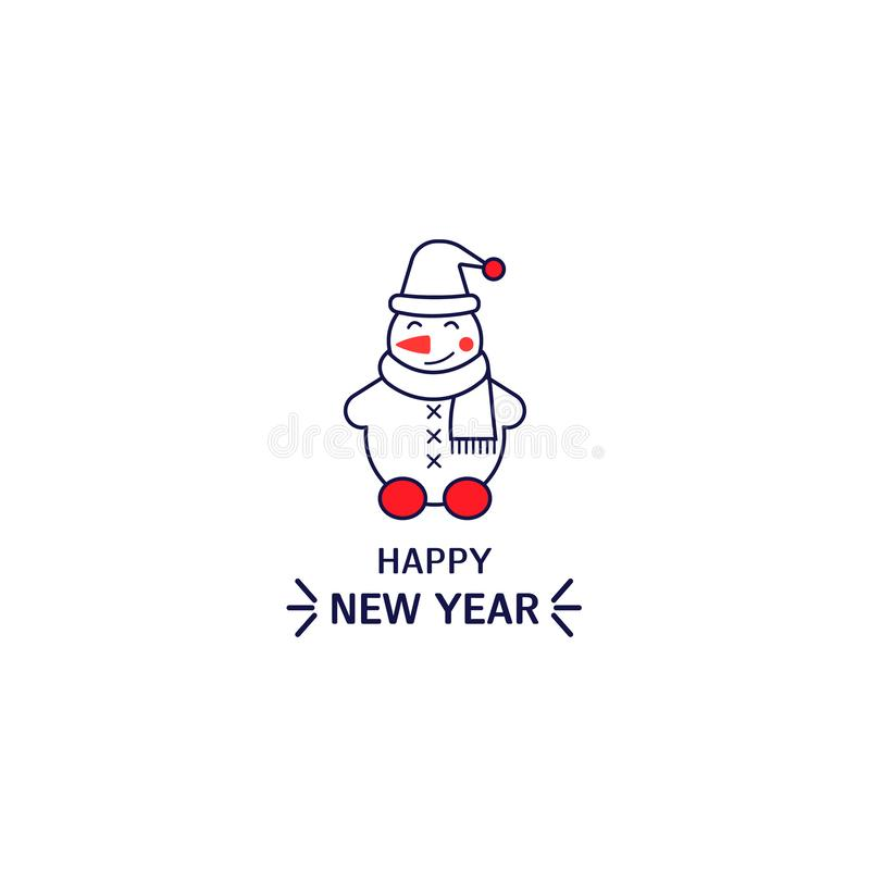 Snowman icon line style. Simple element for new year card, logo, print on t-shirt vector illustration