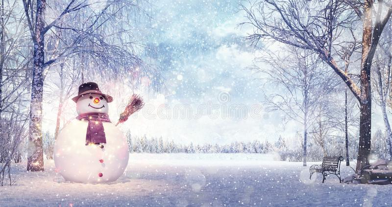 Snowman in the idyllic winters day, Christmas background vector illustration