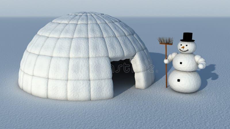 Snowman and Igloo vector illustration
