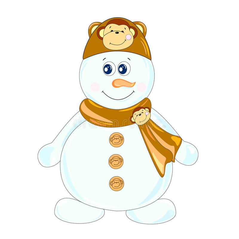 Snowman illustration. The main symbol of this vector illustration is snowman. It's dressed in hat with image of monkey and scarf with monkey-brooch. Image royalty free illustration