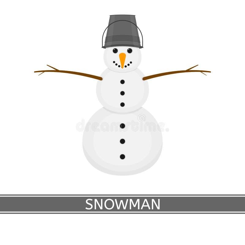 Snowman Isolated on white vector illustration