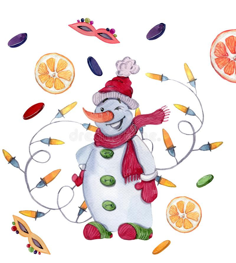 Snowman and lights, masks, confetti and oranges. Watercolor new year illustration of a cute snowman in a hat, a scarf, mittens and socks vector illustration
