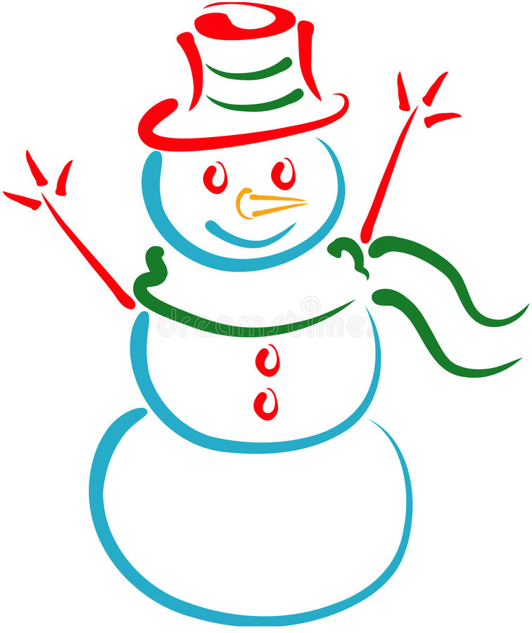 Snowman Lineart vector illustration