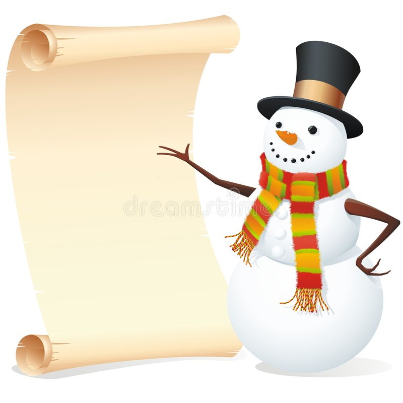 Download Snowman with list stock vector. Image of christmas, gift - 7426008