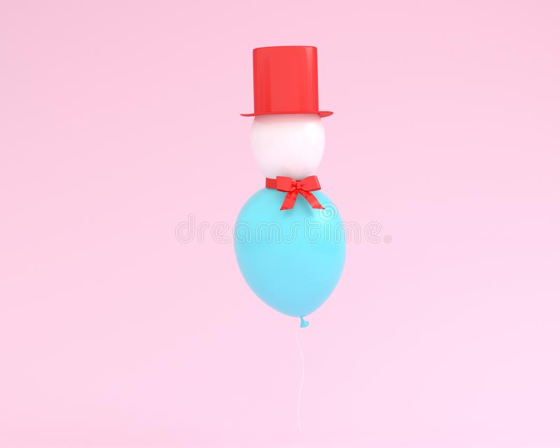 Snowman made of balloons floating on pink color background. mini. Mal winter and new year concept. Creative for festival like or christmas celebration party vector illustration