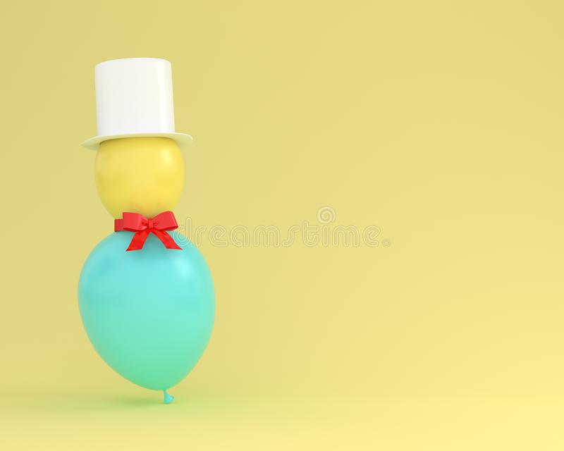 Snowman made of balloons on yellow color background. minimal win. Ter and new year concept. Creative for festival like or christmas celebration party stock illustration