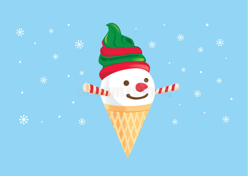 Snowman made of ice ream cone and dessert. Snowman made of ice cream cone and dessert. Wafer stick and strawberry decoration to be face. Illustration about vector illustration