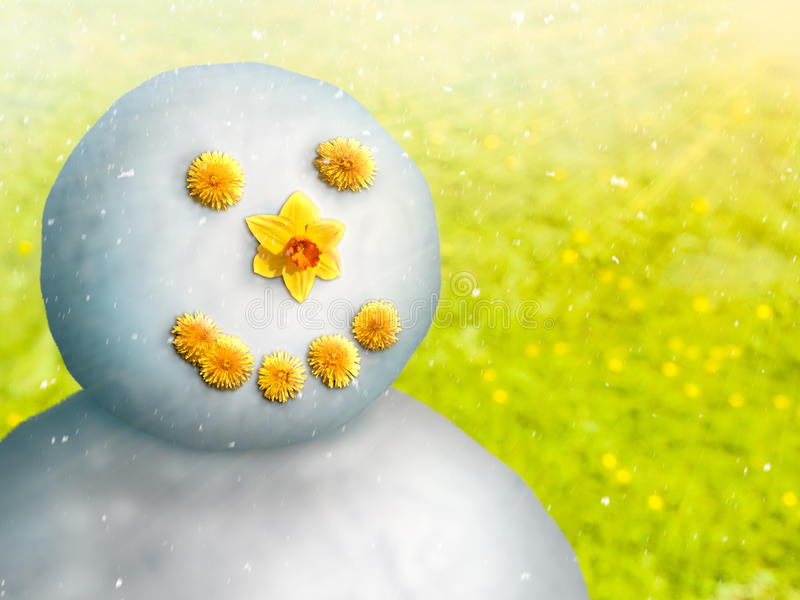 Snowman in May. Manmade climate change can cause weather extremes like snowfall in late spring. Sometimes snowfall can be significant enough for kids to make stock photos