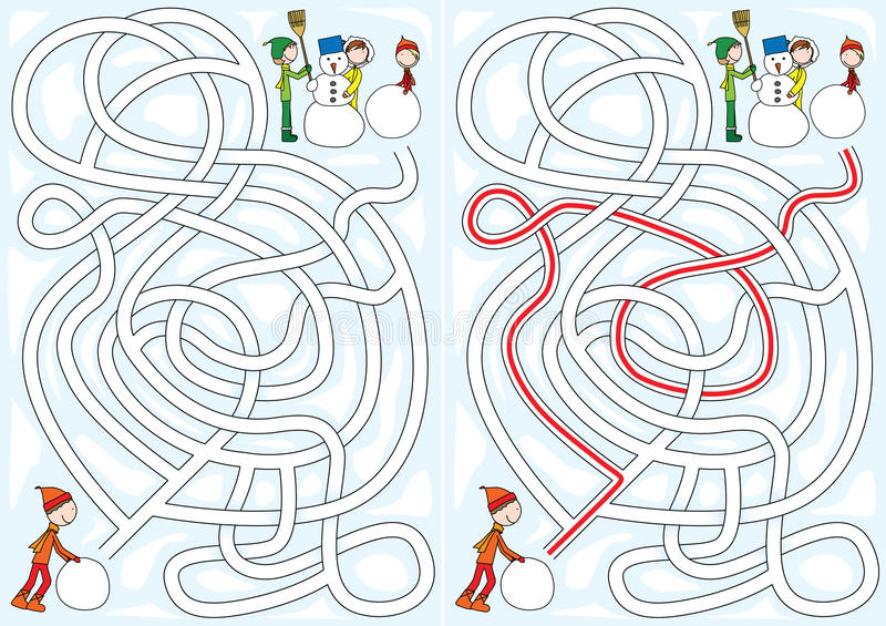 Download Snowman maze stock vector. Image of solution, puzzle - 23293635
