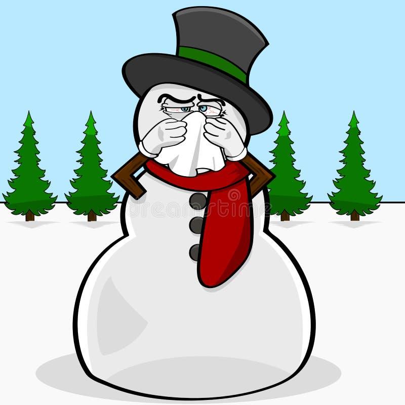 Snowman med en cold vektor illustrationer