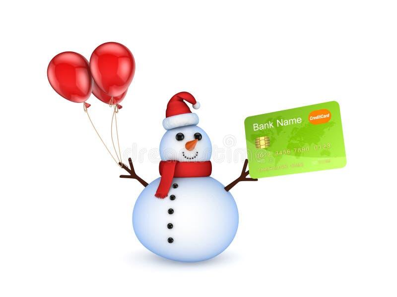Snowman med ett credic kort. stock illustrationer