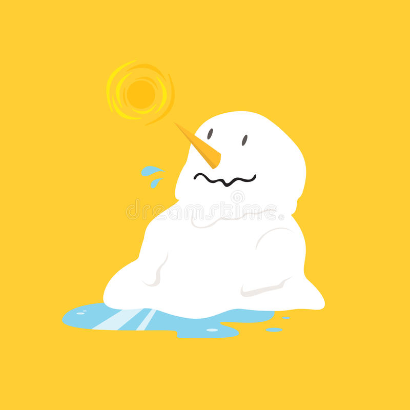 Snowman melting on yellow background. stock illustration