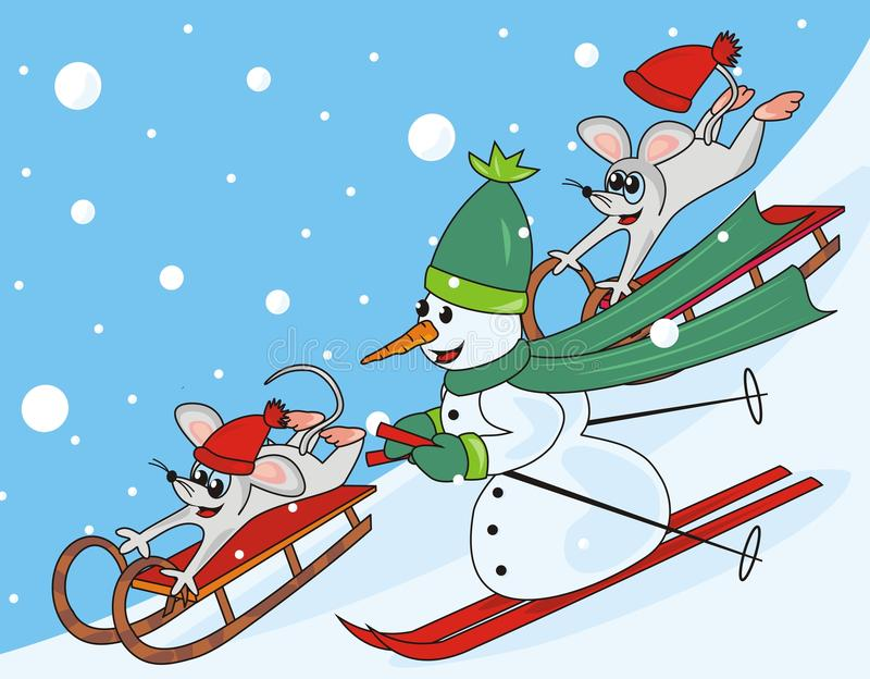 Snowman and mice. Two mice sled and snowman skiing stock illustration