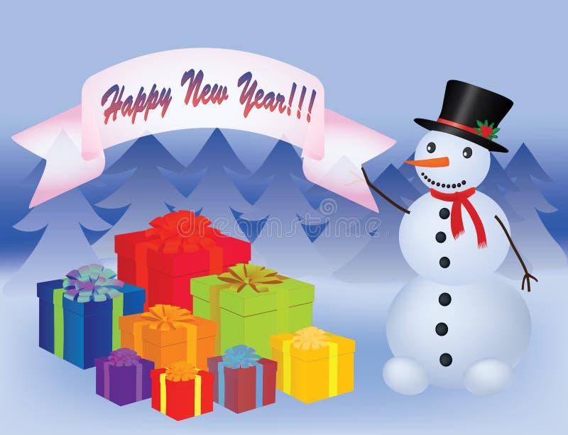Snowman near a heap of presents. Snowman near a heap of new year presents illustration royalty free illustration