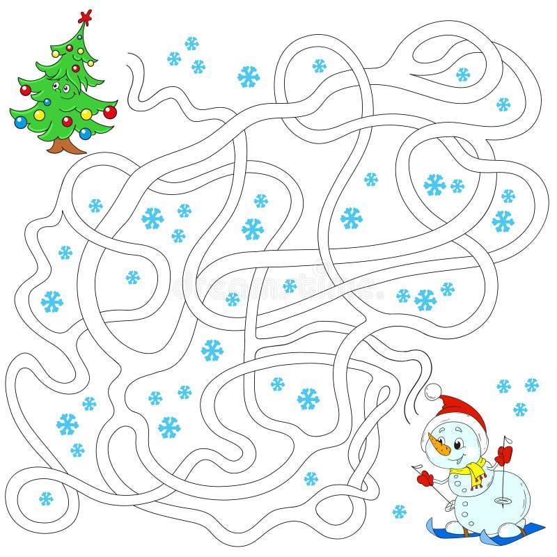 Snowman och julgran Labyrint för barn bildas lekar Finna banan också vektor för coreldrawillustration royaltyfri illustrationer