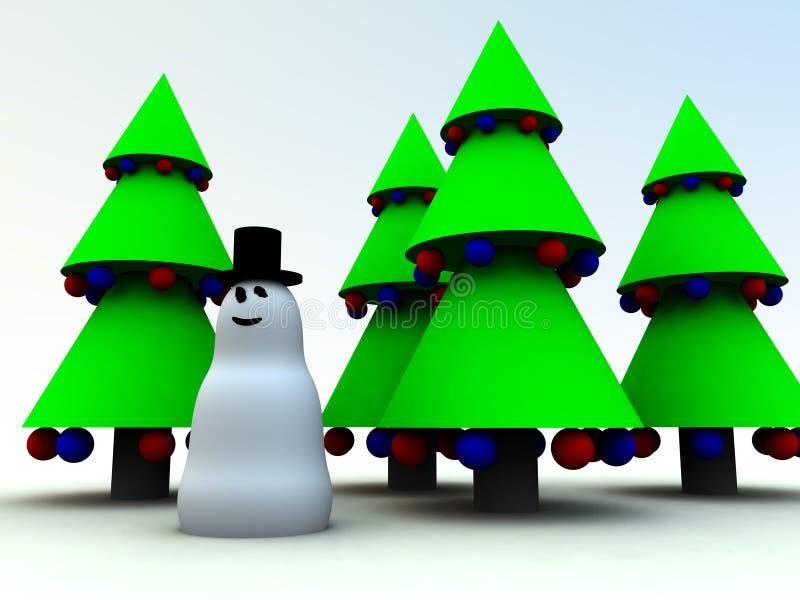 Snowman och julgranar 0 royaltyfri illustrationer