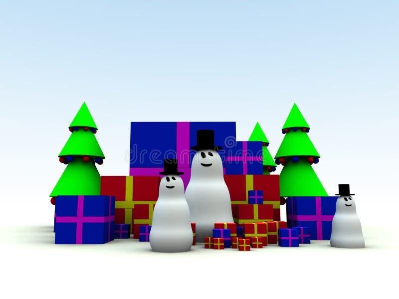 Snowman och julklappar 8 royaltyfri illustrationer