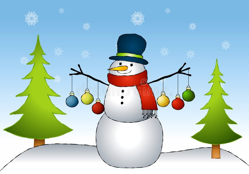Snowman Ornaments. An illustration featuring a snowman sitting in the snow with ornaments hanging from his arms stock illustration