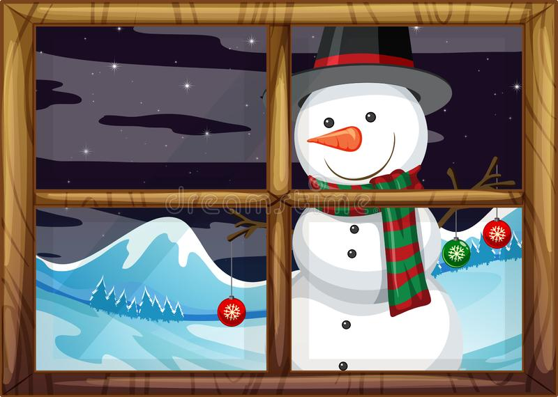 A snowman outside of the window royalty free illustration
