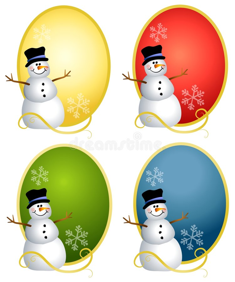 Snowman Oval Logos. Your choice of snowman illustrations sitting on in colourful ovals stock illustration