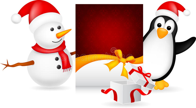 Snowman and penguin with christmas card vector illustration