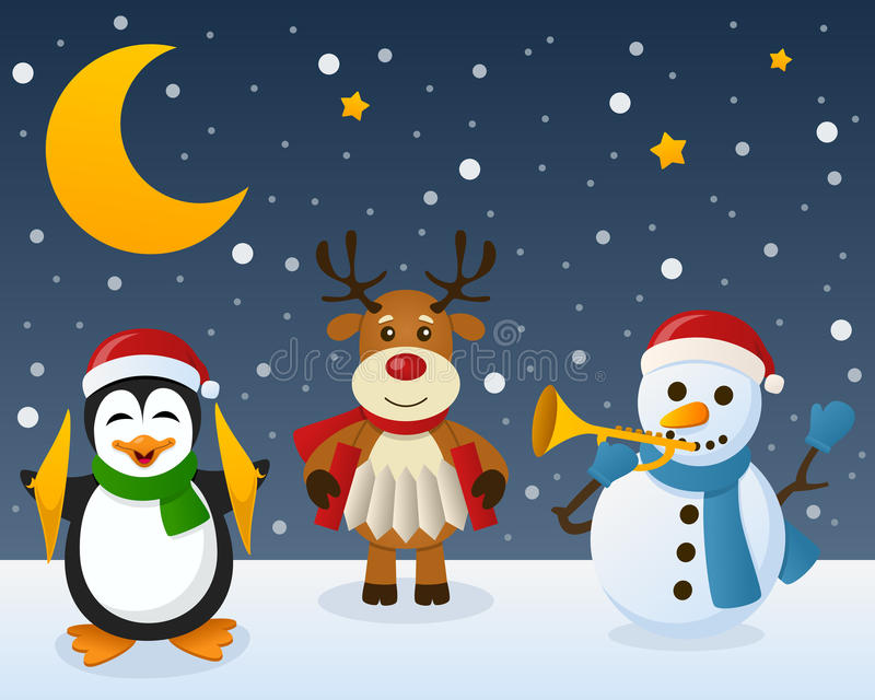 Snowman Penguin Reindeer on the Snow. A Christmas orchestra with a funny penguin playing the cymbal, a cute reindeer playing the accordion and a snowman playing royalty free illustration