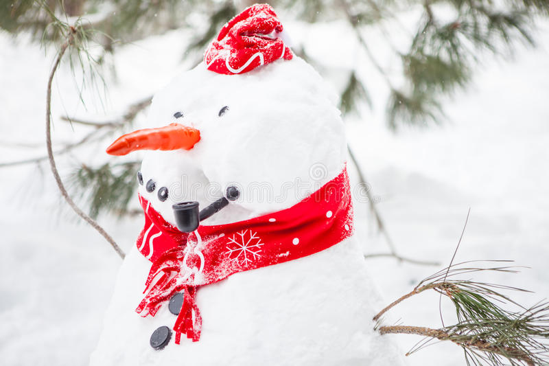 Snowman With A Pipe Stock Photos
