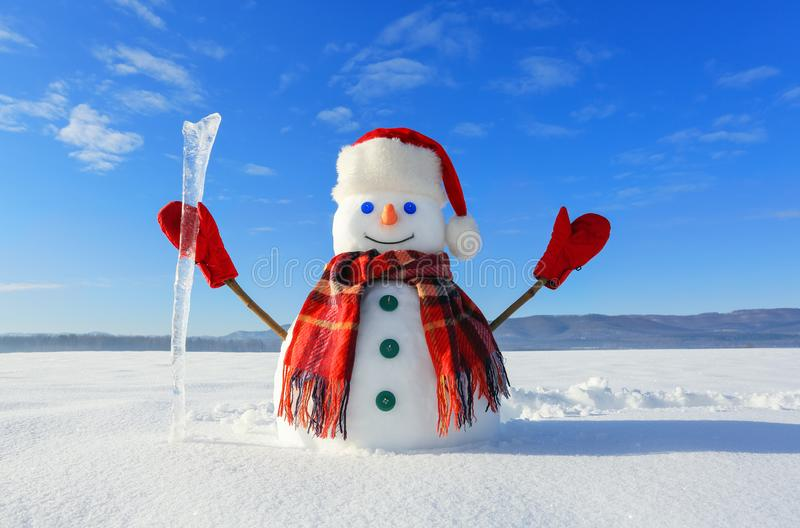 The snowman in plaid scarf, red hat, gloves and icicle in the hand. Nice landscape with the mountains on the background. stock photo