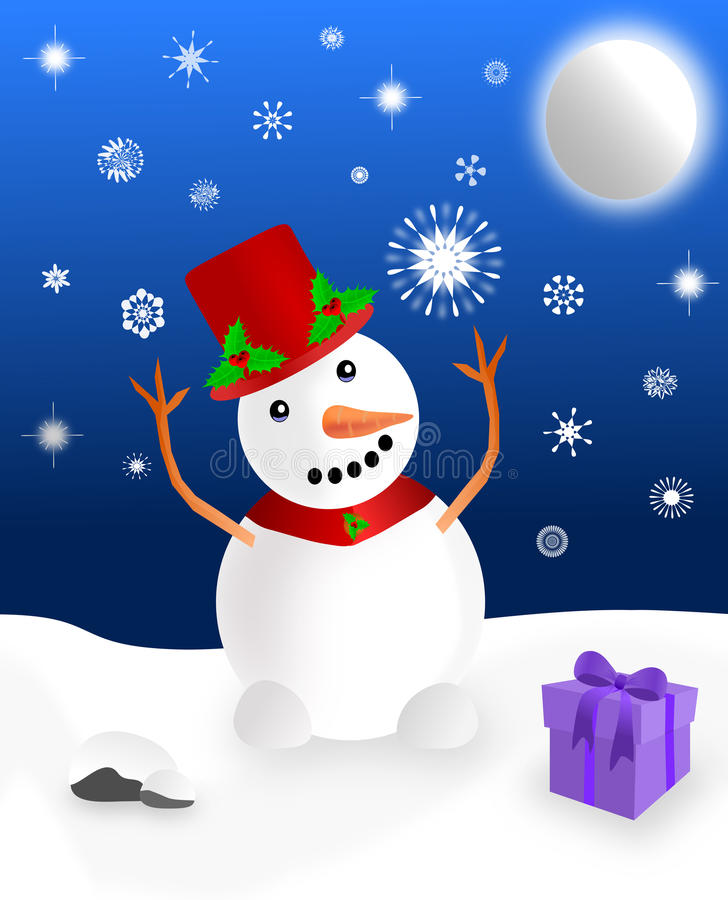 Download Snowman Playing In The Snow Stock Illustration - Illustration of snowman, present: 21729866