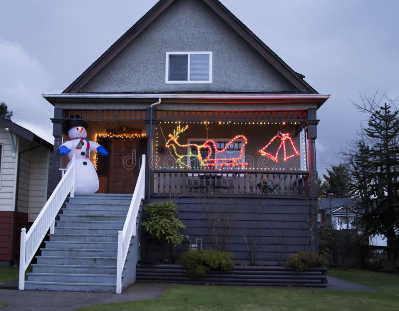 Download Snowman On Porch At Christmastime Stock Image - Image: 28243385