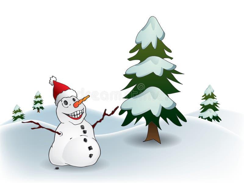 Download Snowman Postcard stock vector. Image of seasons, illustration - 22041699