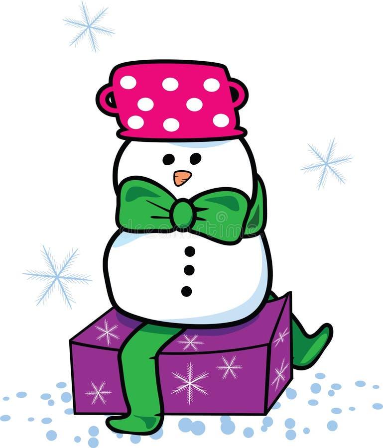 Download Snowman present stock vector. Image of outdoors, scene - 7375150