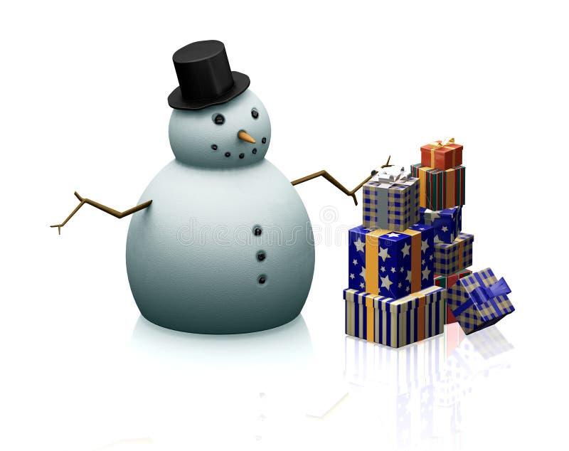 snowman prezent royalty ilustracja