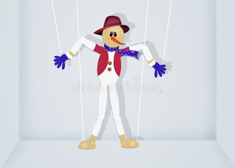 Snowman puppet royalty free illustration