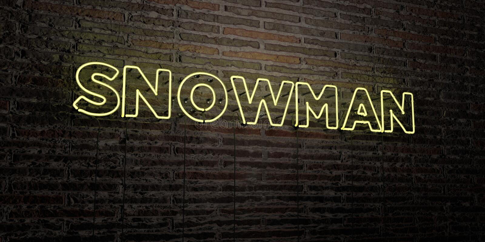 SNOWMAN -Realistic Neon Sign on Brick Wall background - 3D rendered royalty free stock image stock illustration