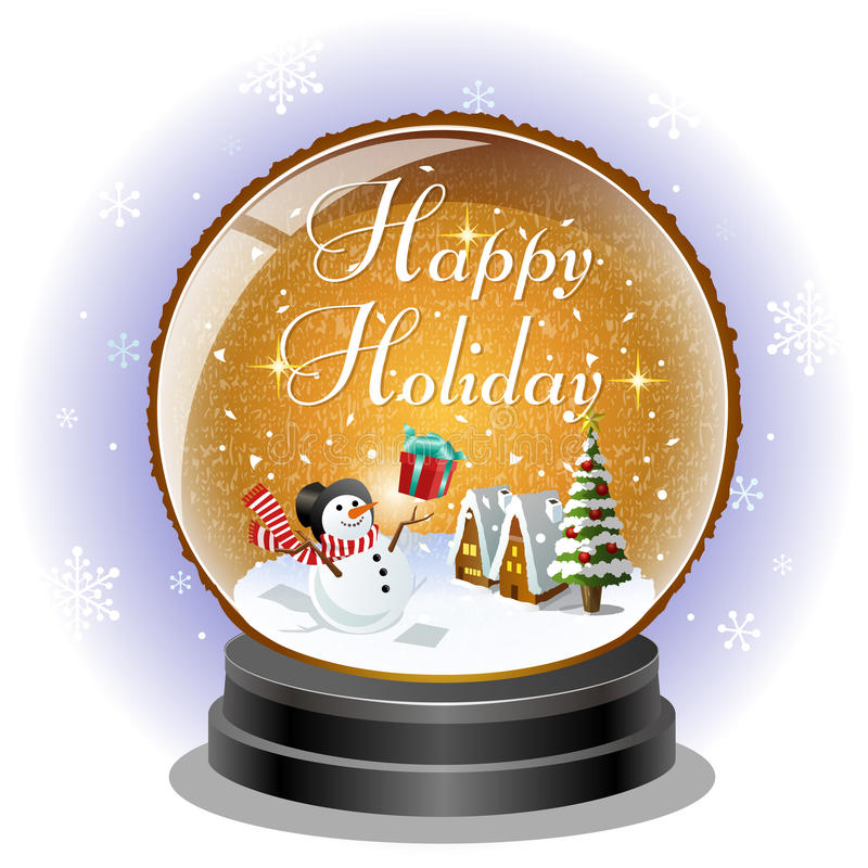 Download Snowman Receiving A Christmas Gift Box In Snow Globe Stock Vector - Illustration: 34323827