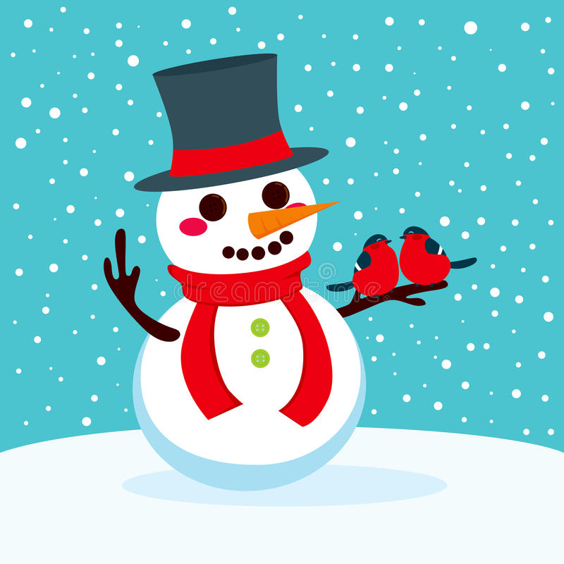Snowman With Red Birds In Love vector illustration